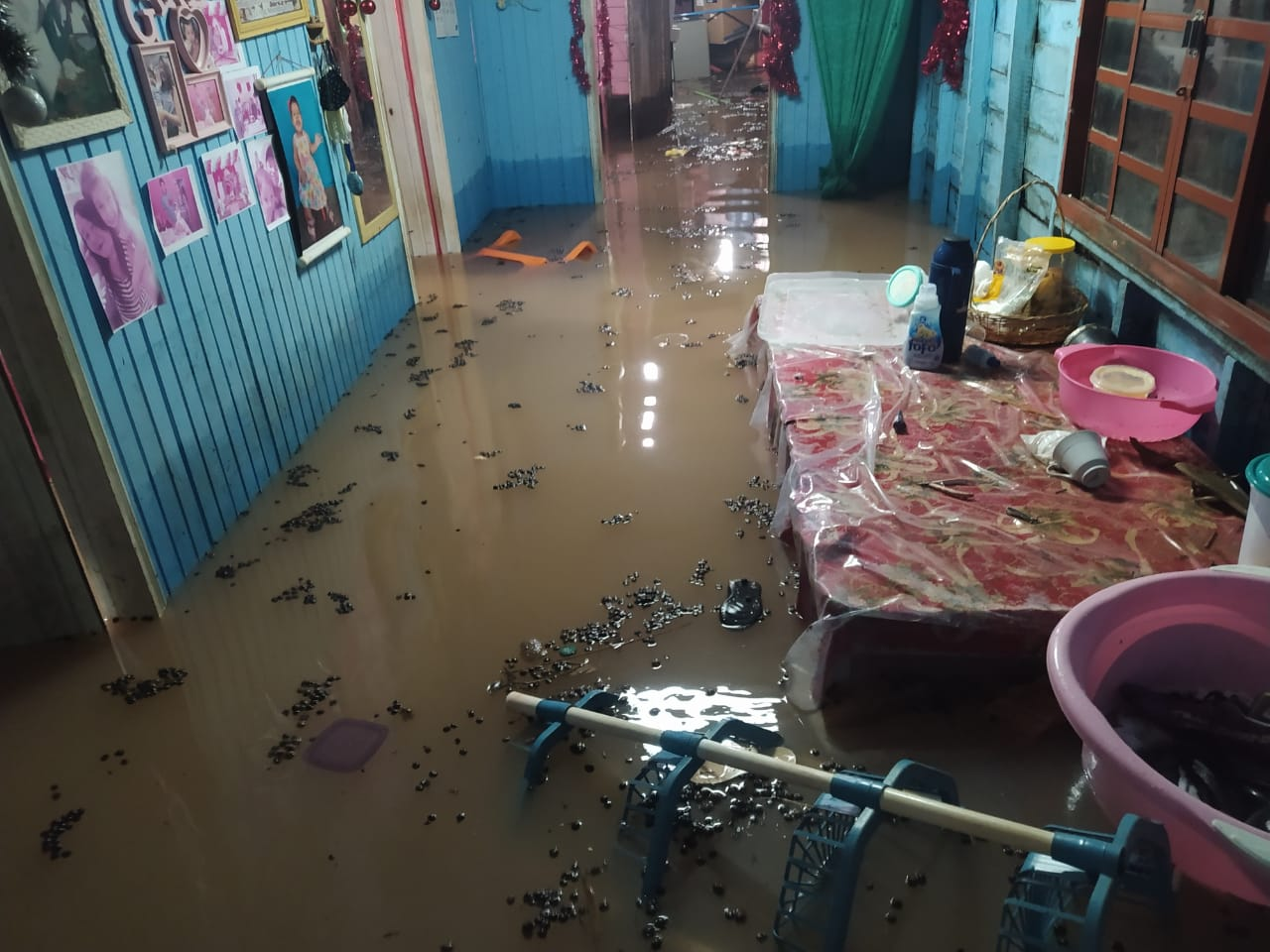 Casa de moradora do bairro Jardim Marco Zero alaga durante temporal. Foto: Núbia Pacheco.